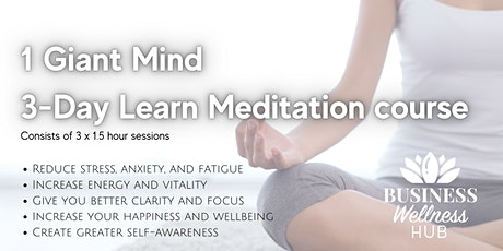 1 Giant Mind 3-Day Learn Meditation course tickets