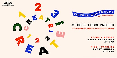 Virtual Workshops: 1,2,3, CREATE! tickets