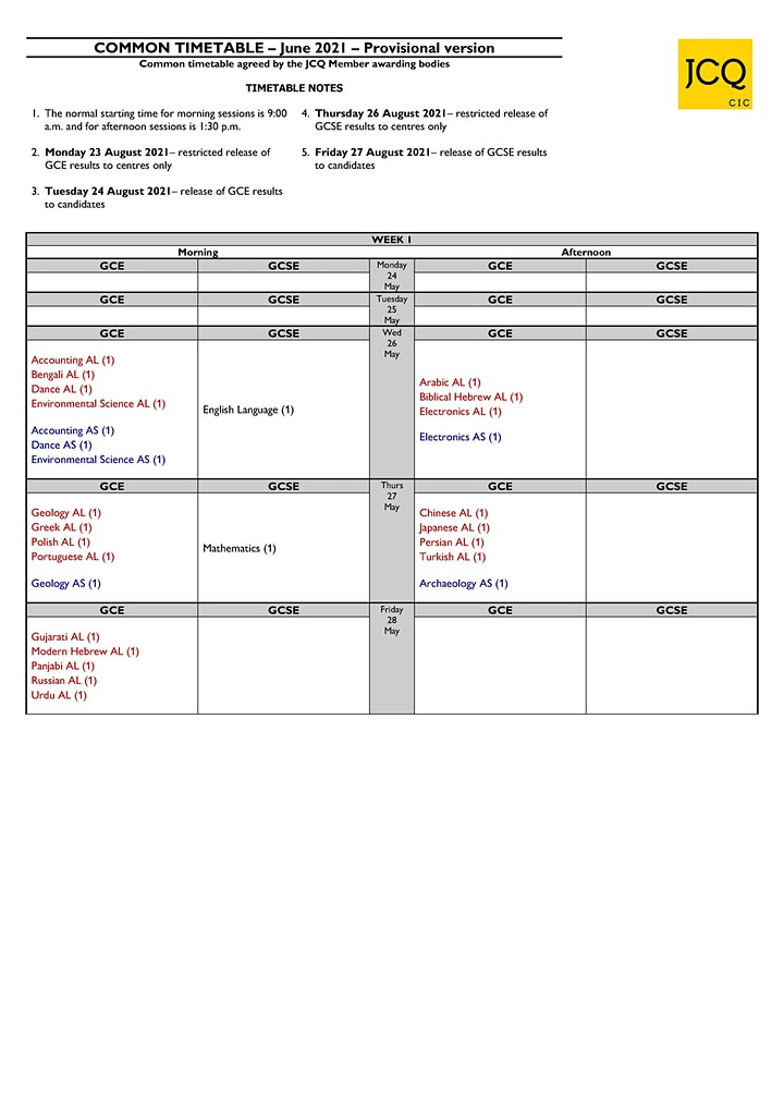 Week 1 summer 2021 timetable GCSE & A level image