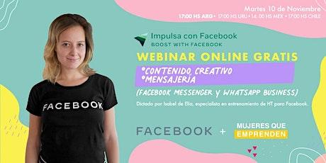 """""""Impulsa con Facebook"""" Contenido Creativo - Mensajería instantánea boletos"""