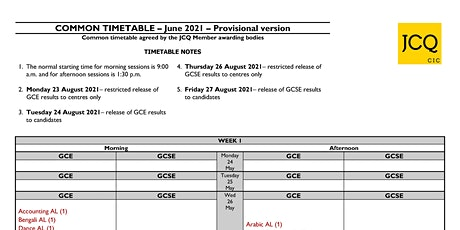 Week 1 summer 2021 timetable GCSE & A level tickets