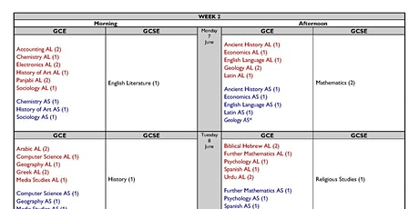 Week 2 summer 2021 timetable GCSE & A level tickets