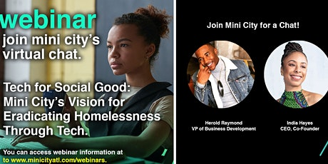Mini City Webinar: Tech for Social Good + Eradicating Homelessness tickets