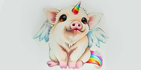 60min Draw a  Rainbow Unicorn Baby Pig Art Lesson  @10AM (Ages 4+) tickets