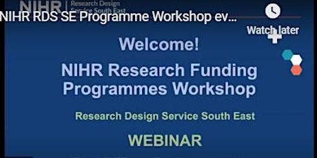 RDS SE: NIHR Research programmes workshop - ONLINE tickets