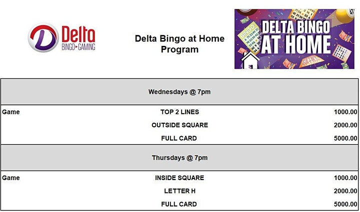 Delta Bingo at Home - January  21 image