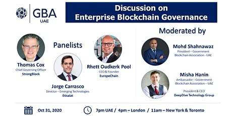 GBA UAE - Discussion on Enterprise Blockchain Governance - Oct 31 tickets