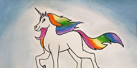 60min Draw a  Rainbow Unicorn in a Meadow Art Lesson  @4PM (Ages 4+) tickets