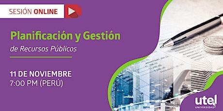 """Sesión online: """"Planificación y Gestión de Recursos Públicos"""" entradas"""
