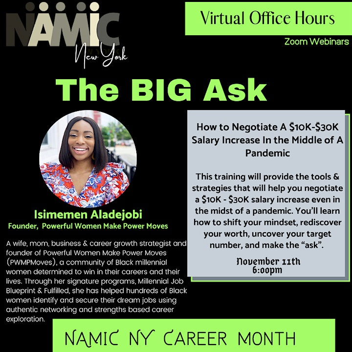 """NAMIC NY Presents: Virtual Office Hours, """"The BIG Ask"""" image"""