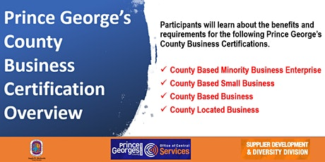 Prince George's County Business Certification Overview Training tickets