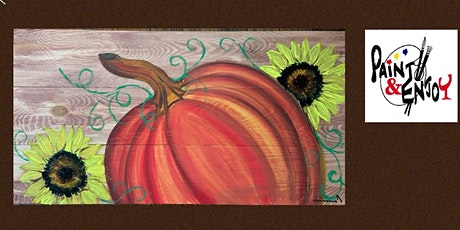 """Paint and Enjoy at the Rustic Cup, East Prospect  """" Pumpkin """" on wood tickets"""