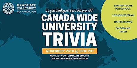 Canada Wide University Trivia- UBC Teams tickets
