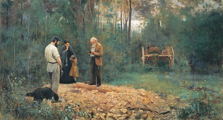 Educator's preview— Frederick McCubbin—Whisperings in wattle boughs image