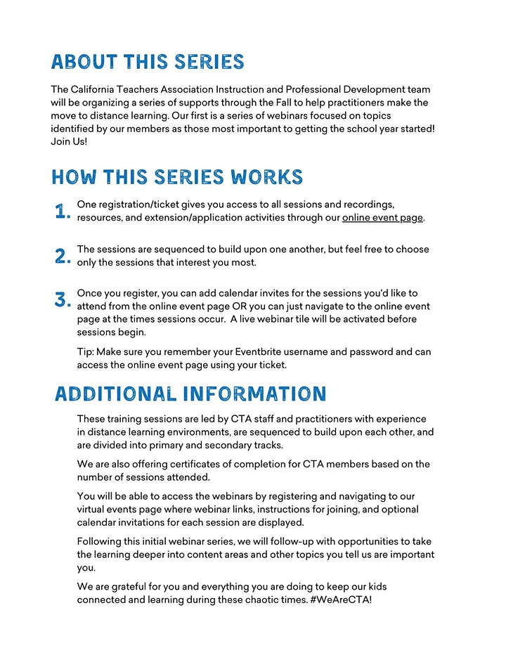 CTA IPD Distance/Hybrid Learning Series image