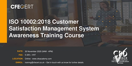ISO 10002:2018 Customer Satisfaction Management System Awareness  Training tickets