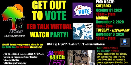 AFCAMP GOTV Ted Talk Virtual Watch Party ~ Pick A Date! tickets