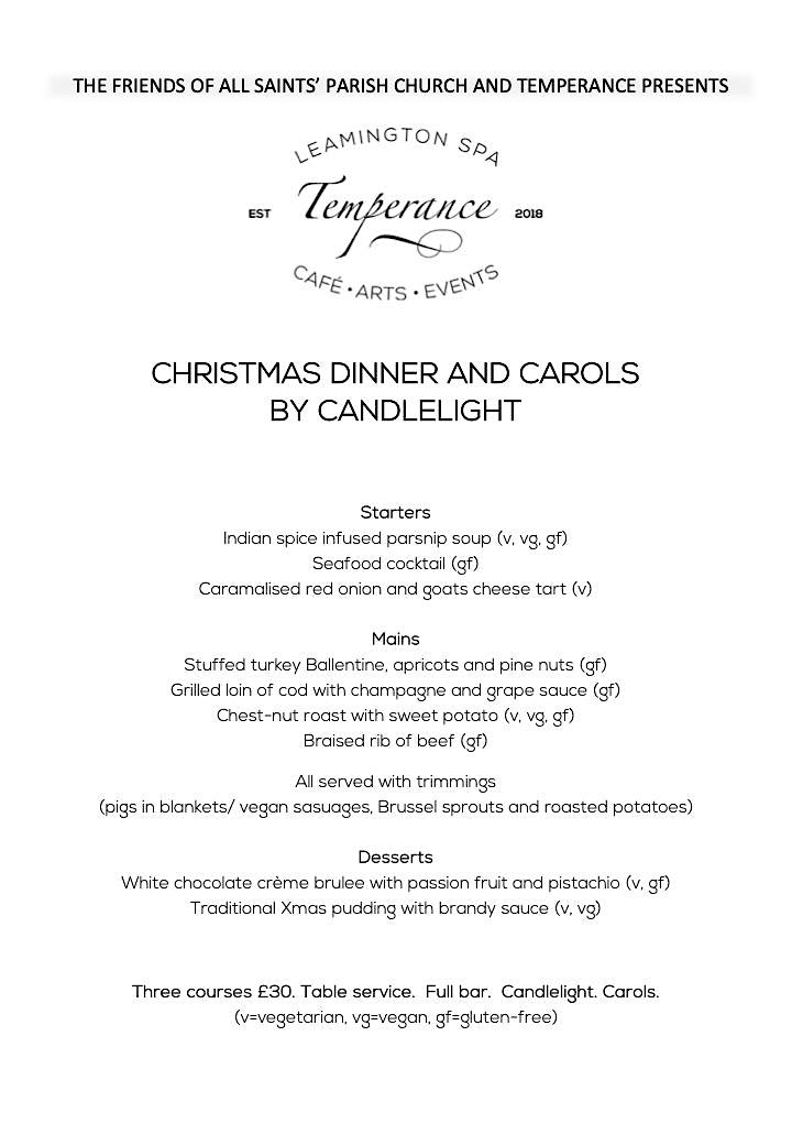 Christmas dinner and carols by candle-light image