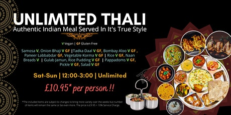 The Unlimited Indian Meal 'Thali' Experience In Norwich! tickets