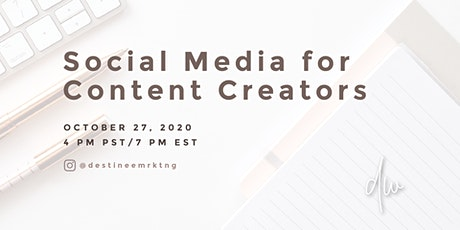 Social Media for Content Creators tickets