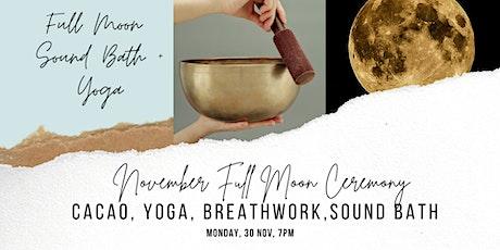 November Full Moon Sound Bath + Yoga, and Cacao Ceremony (small group) tickets