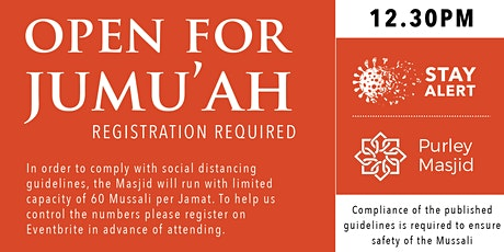 Purley Masjid Jumu'ah - 2nd Salah - 12.30pm - 04-Dec-20 tickets