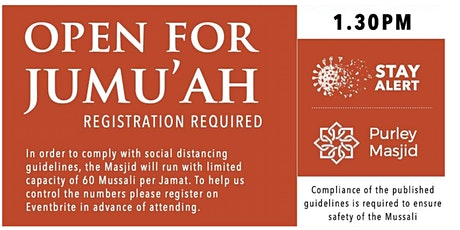 Purley Masjid Jumu'ah - 4th Salah - 1.30pm - 04-Dec-20 tickets