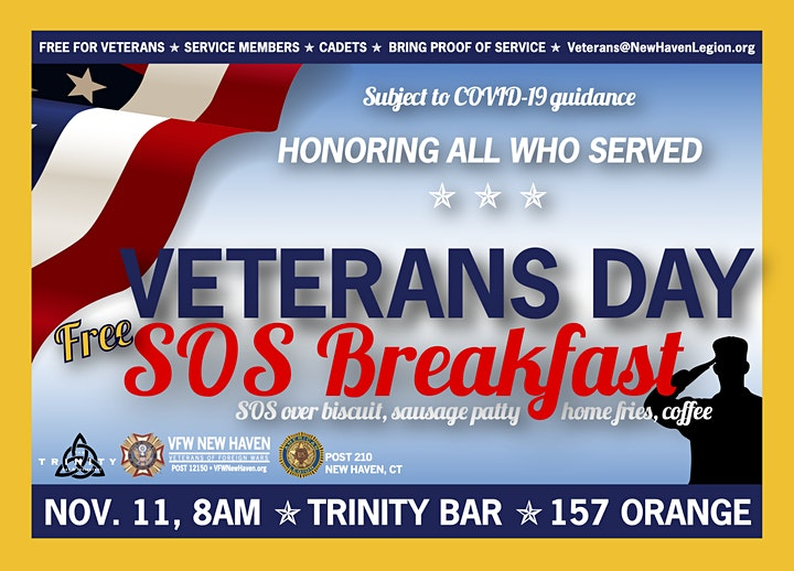 COVID-CANCELED: 2020 Veterans Day FREE SOS Breakfast image