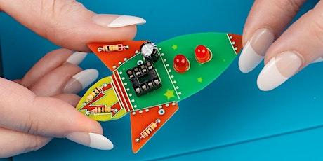 Workshop: Learn to Solder a Wearable Rocket Badge. Seniors, Adults + Kids. tickets