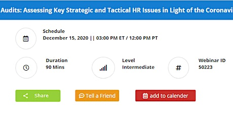 HR Audits: Key Strategic & Tactical HR Issues in Light of the Coronavirus tickets