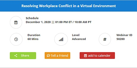 Resolving Workplace Conflict in a Virtual Environment tickets