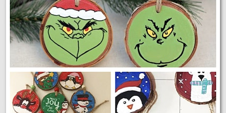 Paint holiday wood  ornaments +1 beverage tickets