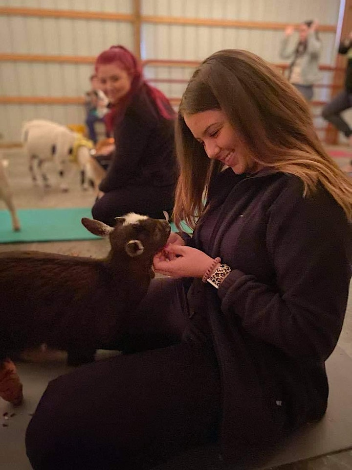 Yoga by Sara and Baby goat snuggles after class image