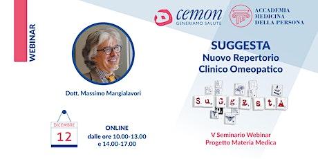 Dott. M. Mangialavori - SUGGESTA - Nuovo Repertorio Clinico Omeopatico biglietti
