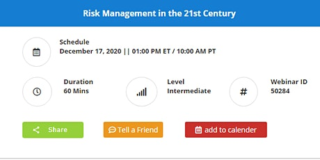 Risk Management in the 21st Century tickets
