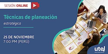 """Sesión online: """"Técnicas de planeación estratégica"""" boletos"""