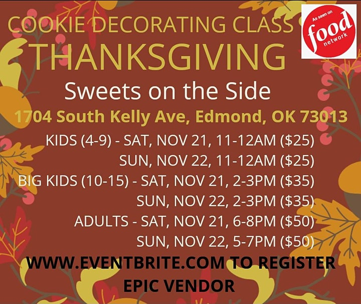THANKSGIVING COOKIE DECORATING CLASS (AGES 4-9) image