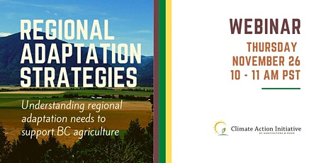 Regional Climate Adaptation Strategies for B.C. Agriculture tickets