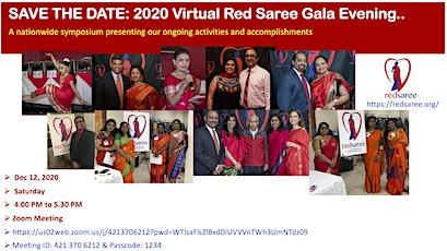 2020 Virtual Red Saree Gala Evening tickets