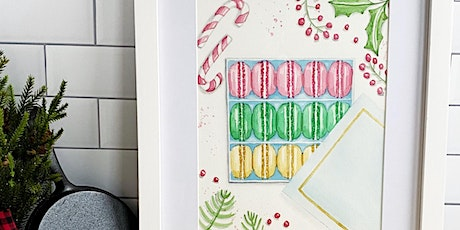 Virtual Holiday Paint & Sip Box of French Macarons Watercolor Workshop tickets