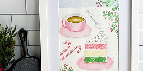 Virtual Holiday Paint & Sip Coffee & Cake Watercolor Workshop tickets