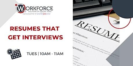 Virtual Resume Workshop tickets