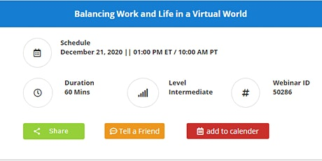Balancing Work and Life in a Virtual World tickets