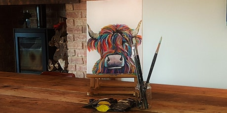 Highland COW - Zoom painting class  - for all abilities in small groups tickets