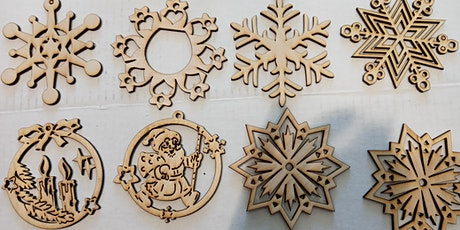Create Your Own set of Wooden Snowflake Christmas Ornaments, laser, holiday tickets