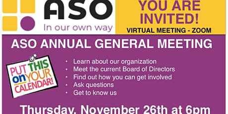 ASO Annual General Meeting (Virtual Meeting) tickets
