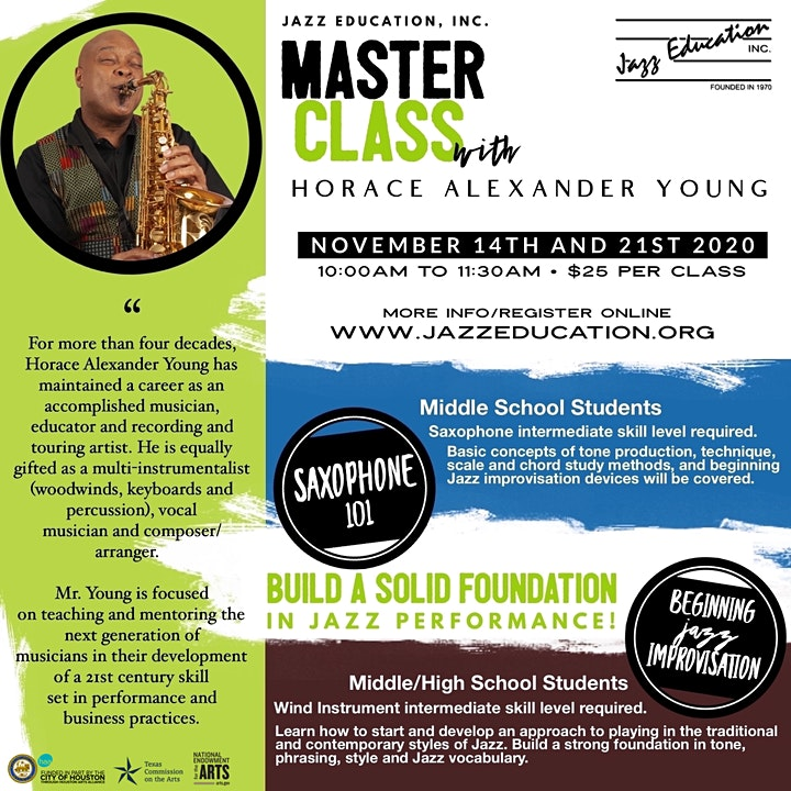 Jazz Master Class with Horace Alexander Young image