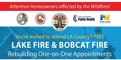 BOBCAT FIRE & LAKE FIRE Rebuilding One-on-One Appointments tickets