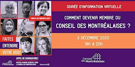 Soirée d'information du Conseil des Montréalaises : Comment devenir membre? ingressos