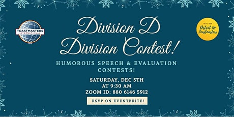 Toastmasters Division D Speech Contest (Dec 5th 9:30am - 12:30pm EST) tickets
